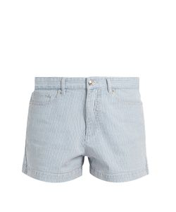 A.P.C. | Striped Stretch-Denim Shorts
