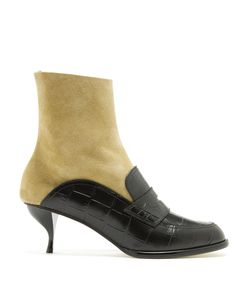 Loewe | Crocodile-Effect Leather Sock Ankle Boots