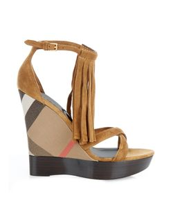 Burberry London   Minstead Suede Fringed Wedge Sandals