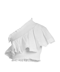 Cecilie Copenhagen | One-Shoulder Ruffled Cropped Cotton Top