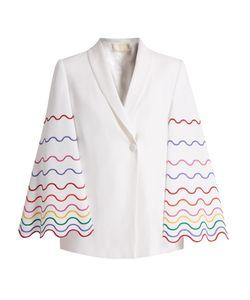 Sara Battaglia | Shawl-Collar Wave-Embroidered Cady Jacket