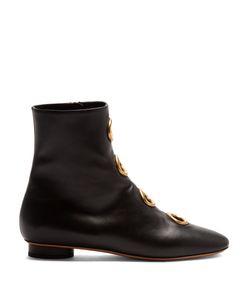 Valentino   Eyelet-Embellished Leather Ankle Boots