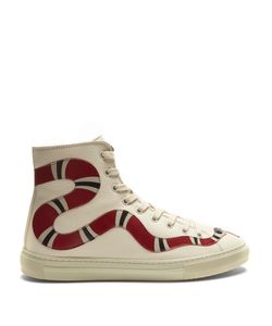 Gucci | Major Snake-Appliqué High-Top Leather Trainers
