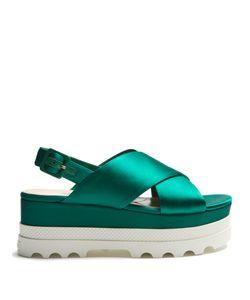 Miu Miu | Crossover Satin Flatform Sandals