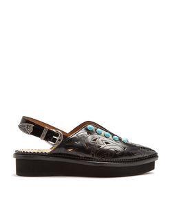 Toga | Embellished Point-Toe Leather Flats