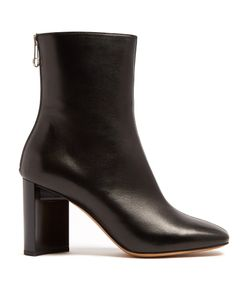 Maison Margiela | Cut-Out Block-Heel Leather Ankle Boots