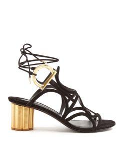 Salvatore Ferragamo | Vinci Flower-Heel Suede Sandals