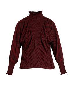 Cecilie Copenhagen   High-Neck Scarf-Jacquard Cotton Top