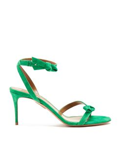 Aquazzura | Passion Bow-Embellished Suede Sandals