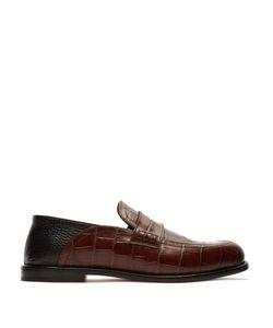 Loewe | Foldable-Heel Crocodile-Effect Leather Loafers
