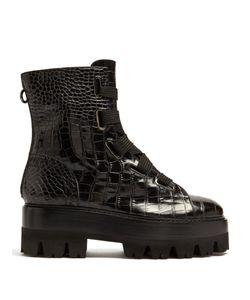 Ellery | Sunny Crocodile-Effect Leather Platform Boots