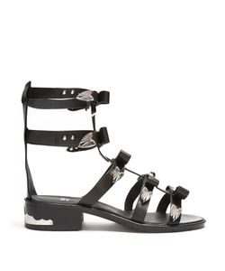 Toga | Bow-Embellished Leather Gladiator Sandals