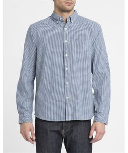 Edwin | And White Button Down Standard Houndstooth Cotton Shirt