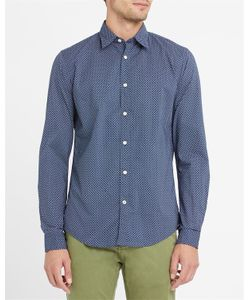 Hartford | Navy Poplin Diamond Print Shirt