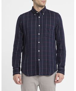 Hartford | Navy Checked Double Face Shirt
