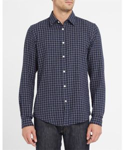 Hartford | Navy Checked Flannel Shirt