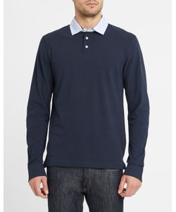 Hackett | Navy Ls Polo Shirt With Patterned Elbow