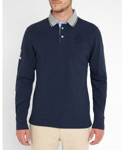 Hackett | Navy Embroidered Logo Elbow Patch Ls Polo Shirt