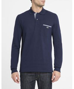 Lacoste | Navy Contrasting Crocodile Logo Piped Pocket Long-Sleeve Polo Shirt