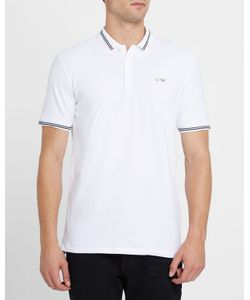 Armani Jeans | Cotton Pique Slim-Fit Polo Shirt With Navy Trim And Chest