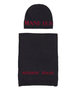Armani Jeans | Scarf And Hat Set With Large Navy Aj Logo