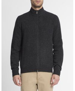 Hackett | Anthracite Contrast Elbow Patch Zip-Up Logo Cardigan