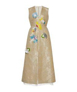 Delpozo   Sleeveless V Neck Raffia Embroide Dress