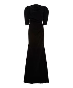 Christian Siriano | Crepe Short Sleeve Gathered Gown