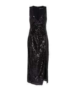 Sally Lapointe | Vertical Sequin Embroidered High Slit Dress