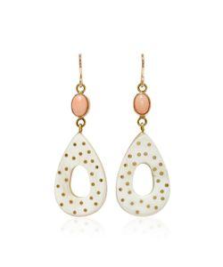 Ashley Pittman | Bendi Horn Bronze And Coral Earrings