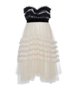 Philosophy di Lorenzo Serafini | Plumetis Strapless Ruffled Dress