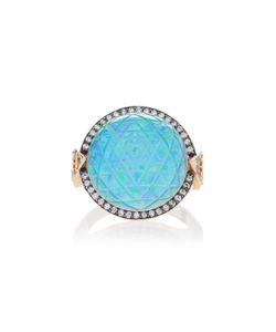 Noor Fares   Sri Yantra Carved Rock Crystal Ring In