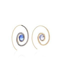 Noor Fares | Spiral Moon Earrings In With Iolite