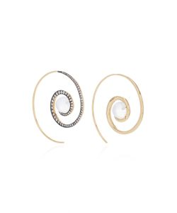 Noor Fares | Spiral Moon Earrings In With Moonstone