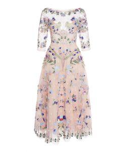 Zuhair Murad   Bead Embroidered Illusion Tea Length Dress