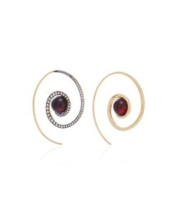 Noor Fares | Spiral Moon Earrings In With Garnet