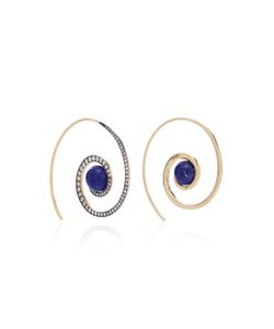 Noor Fares | Spiral Moon Earrings In With Lapis Lazuli