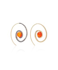 Noor Fares | Spiral Moon Earrings In With Carnelian