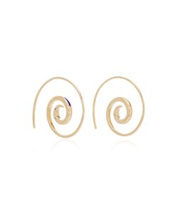 Noor Fares | Navratna Spiral Tribal Earrings In