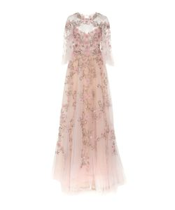 Marchesa | Flutter Sleeve Embroidered Gown