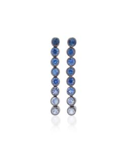 She Bee | Rhodium-Plated Sapphire Drop Earrings