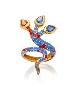 Holly Dyment | 3-Headed Enamel Snake Ring