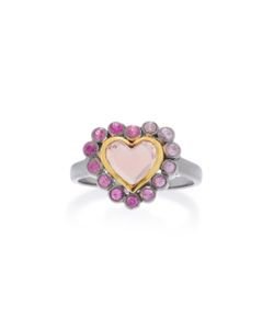 She Bee | Rhodium-Plated Topaz And Sapphire Heart Ring