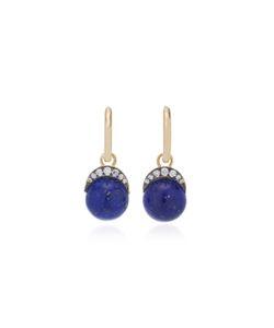 Noor Fares   Mala Drop Earrings In With Lapis Lazuli
