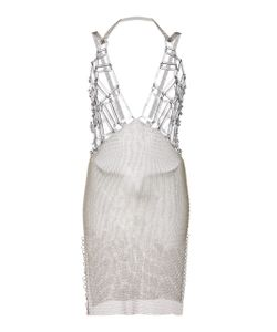 Fannie Schiavoni   Mesh Geometrical V-Neck Dress