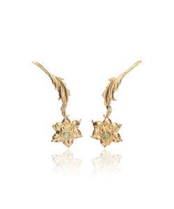 Rodarte | Drop Flower Earrings With Swarovski Crystal Details