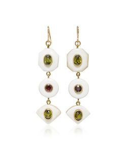 Ashley Pittman | Tone Horn Zircon And Garnet Earrings