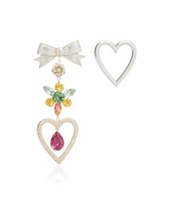 Rodarte | Heart And Bow Earrings With Swarovski Crystal Details