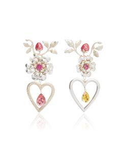 Rodarte | Flower Heart And Strawberry Earrings With Swarovski Crystal Details
