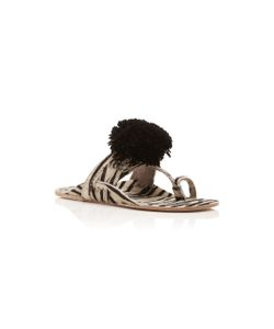 Figue | Zebra Haircalf Leo Pom Pom Sandal